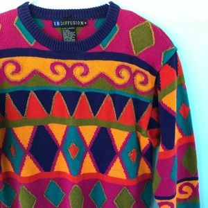 Vintage 90's Geometric Print Sweater